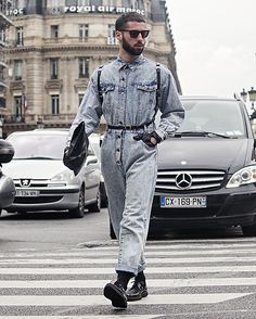 Get this look: http://lb.nu/look/8181457  More looks by Thomas Orafla: http://lb.nu/thomasorafla  Items in this look:  Kilo Shop Denim Jumpsuit, H&M Gloves, Zara Shoes, Kilo Shop Bag, Ray Ban Sunglasses   #denim #leather #black #fetish #men #paris #style #jumpsuit #kiloshop