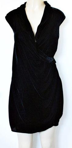 EUC Saks Fifth Avenue Black Velvet Velour Faux Wrap Dress 14 Cocktail #SaksFifthAvenue #WrapDress #Casual
