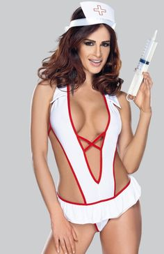 Roxana Nurse costume komplet Seksowna pielęgniarka, rozpali Twojego partnera, body wykonane z miękkiej i elastycznej dzianiny