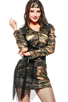 ae933a477eff Women Army-green Camouflage Halloween Army Costume - One Size