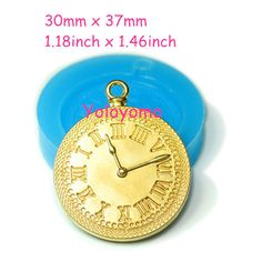 Free shipping P201YL Alarm Clock Bakery Silicone Mold 37mm - Polymer Clay Bakeware Charms Sugarcraft Molds, Fimo Mould Food Safe