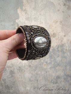 Bracelet  Cuff  Bead Embroidery Bracelet with pyrite  Вronze tones Cuft