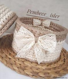 166 Likes, 8 Comments - Kezban Diy Crochet Basket, Crochet Box, Crochet Basket Pattern, Crochet Lace, Crochet Stitches, Crochet Patterns, Crochet Decoration, Crochet Home Decor, Bonnet Crochet