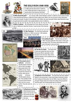 the Gold Rush - English ESL Worksheets for distance learning and physical classrooms 4th Grade Social Studies, Social Studies Activities, Wild West Theme, Usa People, California History, And So It Begins, Facts For Kids, Gold Rush, Worksheets For Kids