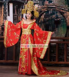 traditional+chinese+clothing | Traditional Chinese Wedding Phoenix Dress and Crown for Brides