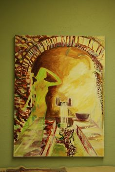 Shadow in an Arch an acrylic painting by Karin Teresa fain copyright 2005. ALL RIGHTS RESERVED
