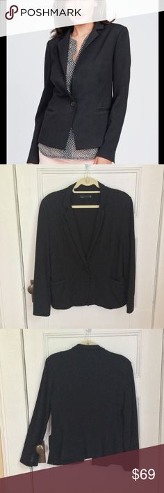 "Noir Black Ponte Knit Blazer Size L EUC Noir black blazer, size L, EUC. Single button front, narrow lapel, welt pockets, buttoned sleeves. Ponte knit, fully lined. Slight padding at shoulders. 25"" long. 19"" from armpit to armpit, 20"" wide at hips. Measured flat across front. Noir Jackets & Coats Blazers"