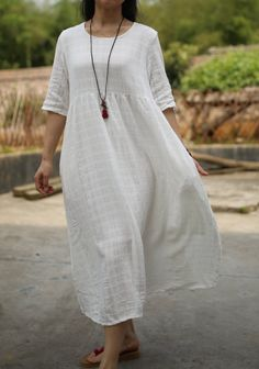 White cotton linen dress maxi dress large by fashionwomanstore