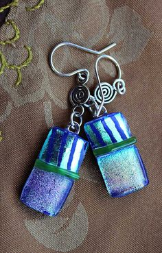 Dichroic Blue/Green with Warm Highlights Dangle by seespotrun5, $25.00