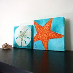 Beach Paintings SAND DOLLAR & STARFISH Set 5x5 Oil by nJoyArt, $80.00
