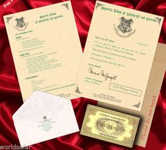 Product Description - X1 Personalised Hogwarts Letter !!!HOT!!! - X1 Personalised Hogwarts Envelope addressed to a person of your choosing - X1 List of Requirements X1 Hogwarts Express train ticket !!