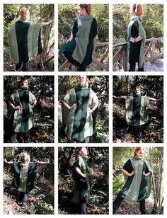 Hand knitted Dark Green Khaki Long Mohair Pancho $150.00