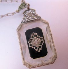 $89.00 1920s Art Deco Crystal Lavaliere Pendant Necklace White Gold Filled Filigree Onyx Vintage Jewelry Jewellery FREE SHIPPING by BrightEyesTreasures on Etsy