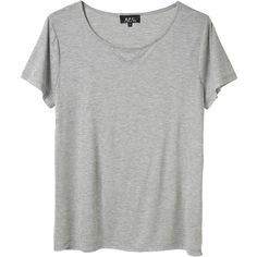 A.P.C. Sheer Jersey T-Shirt (115 AUD) ❤ liked on Polyvore featuring tops, t-shirts, shirts, tees, short sleeve tees, crewneck shirt, relaxed fit shirt, shirts & tops and relax shirt