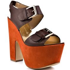 You won't be able to live without this on trend platform from Report Signature. Bruner showcases a double buckle leather upper in a chic brown color. An impressive 6 inch heel and 2 inch platform will keep you standing above all the competition. Brown Wedge Sandals, Brown Heels, 6 Inch Heels, Stylish Rings, Ankle Strap Heels, Sexy Heels, Shoe Collection, Fashion Shoes, Wedges