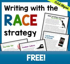 Writing with the RACE Strategy FREE Help students learn how to answer text-based short response questions using the RACE strategy--awesome for test-prep! Races Writing Strategy, Race Writing, Third Grade Writing, 4th Grade Reading, Writing Strategies, Teaching Writing, Writing Activities, Writing Ideas, Teaching Ideas
