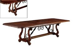 Spanish Colonial Extension Dining Table with Solid Iron Stretcher.