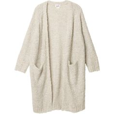 Monki Zosia knitted cardigan (€50) ❤ liked on Polyvore featuring tops, cardigans, outerwear, jackets, old ice white, long white cardigan, long white top, long cardi, long tops and monki