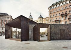 Brass squares give patchwork facade to Stockholm ferry terminal by Marge Arkitekter (Dezeen) Monumental Architecture, Facade Architecture, Amazing Architecture, Building Front, Bridge Design, Amazing Buildings, Urban Design, Cladding, Modern Interior Design