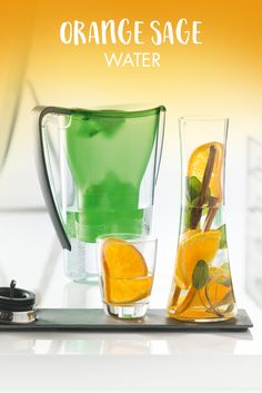 Orange Sage Water #water #refreshing #orange #sage  https://www.bwt-filter.com/en/products/Table-water-filter-Cartridges/expert-opinion/Recipe-ideas-for-the-office/Pages/default.aspx