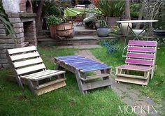 genbrugsstole. Havemøbler til østterrassen.