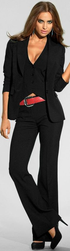 Black pantsuit with red belt for pizzazz.