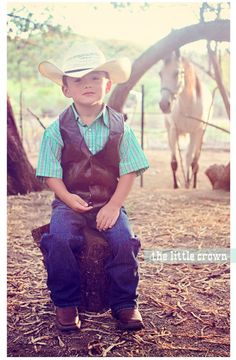 I don't like that he is sitting on little thing and horse is too far away-  little-cowboy-country-photo-shoot-session-boots-hat-buckle-cute-creative-farm-and-n-ideas-poses-arizona-kids-horses-riding-photographer-phot...