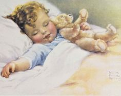 BESSIE PEASE GUTMANN - this is similar to the picture that hung in my room when I was a baby.  I do remember a curly haired blond, dressed in blue, head to the right, with no teddy bear and I don't think he had his arm outside the covers.  I can't ever find that baby.