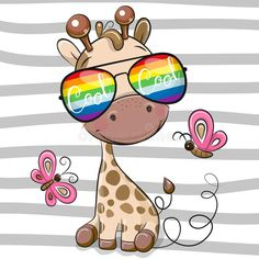 Cool Cartoon Giraffe with sun glasses. Cool Cartoon Cute Giraffe with sun glasses vector illustration Cartoon Giraffe, Cute Cartoon, Mermaid Outline, Pop Art Wallpaper, Disney Cartoon Characters, Background Design Vector, Christmas Drawing, Hello Kitty Wallpaper, Cute Clipart