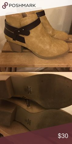 Like New Tan Booties these booties have been worn a handful of times and are very comfortable! They are tan with a brown strap that zip up on the inside of the boot. city classified Shoes Ankle Boots & Booties