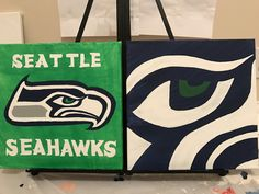 Seattle Seahawks double acrylic painting canvases