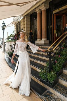 alessandra rinaudo 2017 bridal off the shoulder three quarter bell sleeves lace heavily embellished bodice sexy sheath wedding dress lace back sweep train (bria) mv