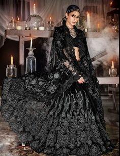 Black Wedding Wear Saree For Heavy Embroidery Work