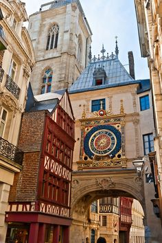 Half-Timbered Houses and Great Clock at Rouen, Normandy