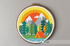 Camping at the mountains cross stitch pattern modern cross
