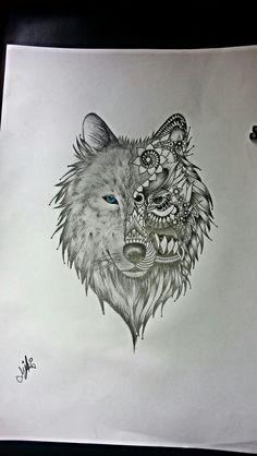 Lobo desenho / wolf drawing /tattoo / estudos