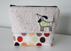 Hey, I found this really awesome Etsy listing at https://www.etsy.com/listing/126701462/dog-applique-zipper-pouch-textpolk-a-dot