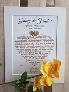 Personalised Golden Wedding Anniversary Gifts, Grandparents Wedding Anniversary Auntie Uncle, Mum Dad, Friends Unframed print for frame (not supplied) Emerald Wedding Anniversary, Golden Wedding Anniversary Gifts, Anniversary Gifts For Parents, Wedding Cards, Wedding Gifts, Congratulations To You, Amazon Gifts, Parent Gifts, Card Making