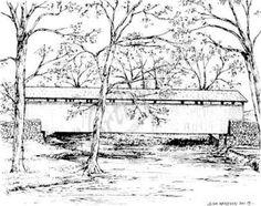 Northwoods Rubber Stamp Spring Covered Bridge