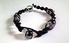 Magnet & Metal Beaded Spiral Black Hemp Bracelet by WartickRavels