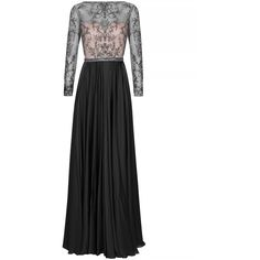 Catherine Deane Brettany Embellished Satin Gown (14.500.920 IDR) ❤ liked on Polyvore featuring dresses, gowns, beaded gown, satin evening gown, satin circle skirt, satin gown and lined dress