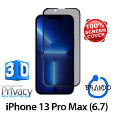 Brando Workshop Full Screen Coverage Curved Privacy Glass Screen Protector (iPhone 13 Pro Max (6.7)) - Black