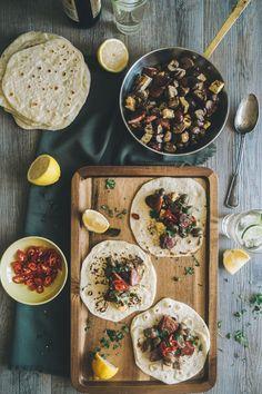 "Mushroom, Chorizo and Haloumi ""Tacos"" (Souvlaki For The Soul)"