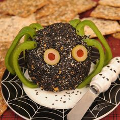 Monster Cheese Ball - can make it into a monster and have cheese and crackers