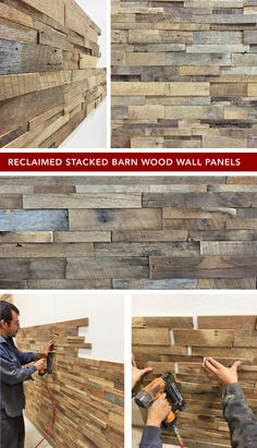 Reclaimed stacked barn wood in a single panel you can install yourself. Use code PINTEREST10 for 10% off. #wallpanel #DIY #reclaimedwood #reclaimedwoodwall