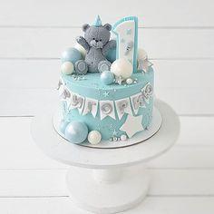 Toddler Birthday Cakes, Baby First Birthday Cake, Baby Boy Cakes, Cakes For Boys, Cake Logo Design, Teddy Bear Cakes, Fondant Cakes, Amazing Cakes, Cake Decorating