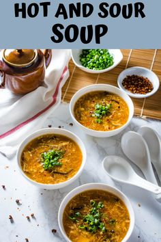Hot and Sour Soup is a Chinese-American restaurant favorite. A very hearty and tangy soup full of mushrooms, tofu, and bamboo shoots. Quick Soup Recipes, Bean Soup Recipes, Chicken Soup Recipes, Spicy Soup, Thai Soup, Asian Recipes, Ethnic Recipes, Chinese Recipes, Soup With Ground Beef