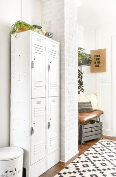 New White Painted Mudroom Lockers New White Painted Mudroom Lockers Rusty lockers get a bright white makeover for the perfect industrial mudroom addition! Rusty lockers get a bright white makeover for the perfect industrial mudroom addition! Industrial Lockers, Metal Lockers, Industrial Interior Design, Vintage Industrial Furniture, Industrial Interiors, White Industrial, Industrial Living, Industrial Office, Vintage Modern