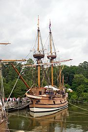 Susan Constant - Captain Christopher Newport [Pictured: Replica built in 1989] Largest of the three ships of the Virginia Company that founded the first permanent settlement of England in America May 14, 1605.