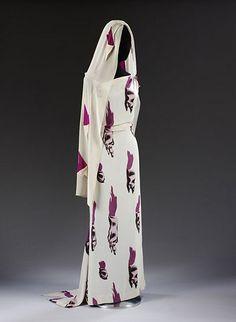 Elsa Schiaparelli | Tear Fabric dress, 1938, designed by Elsa Schiaparelli / Salvador Dali, V&A